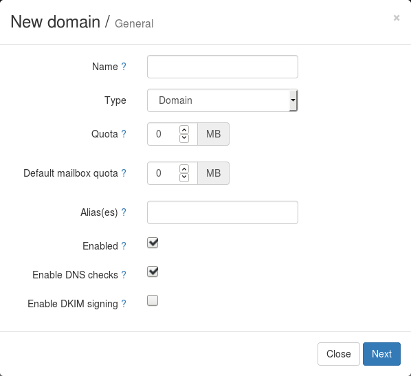 domain form with dkim option