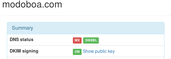 domain detail view with dkim