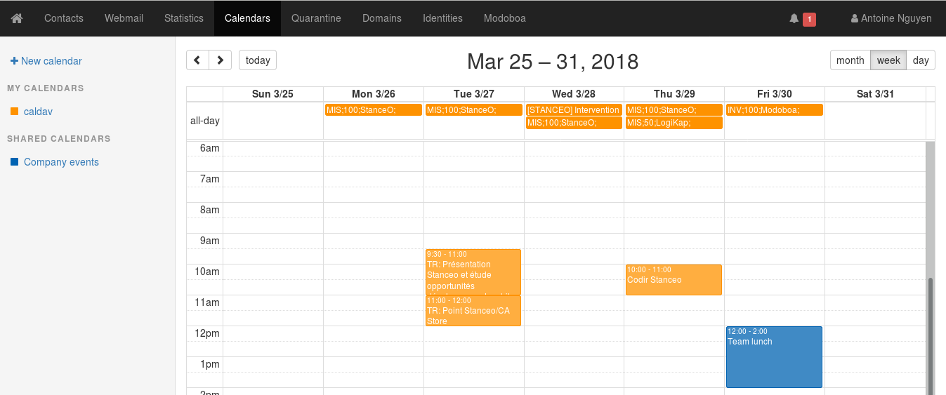 A calendar for Modoboa